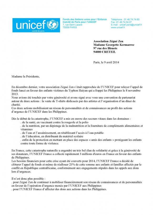 Lettre de l'Unicef à Zégué Zen